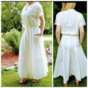 Vtg 80s Boho rustic chic embroidered prairie maxi